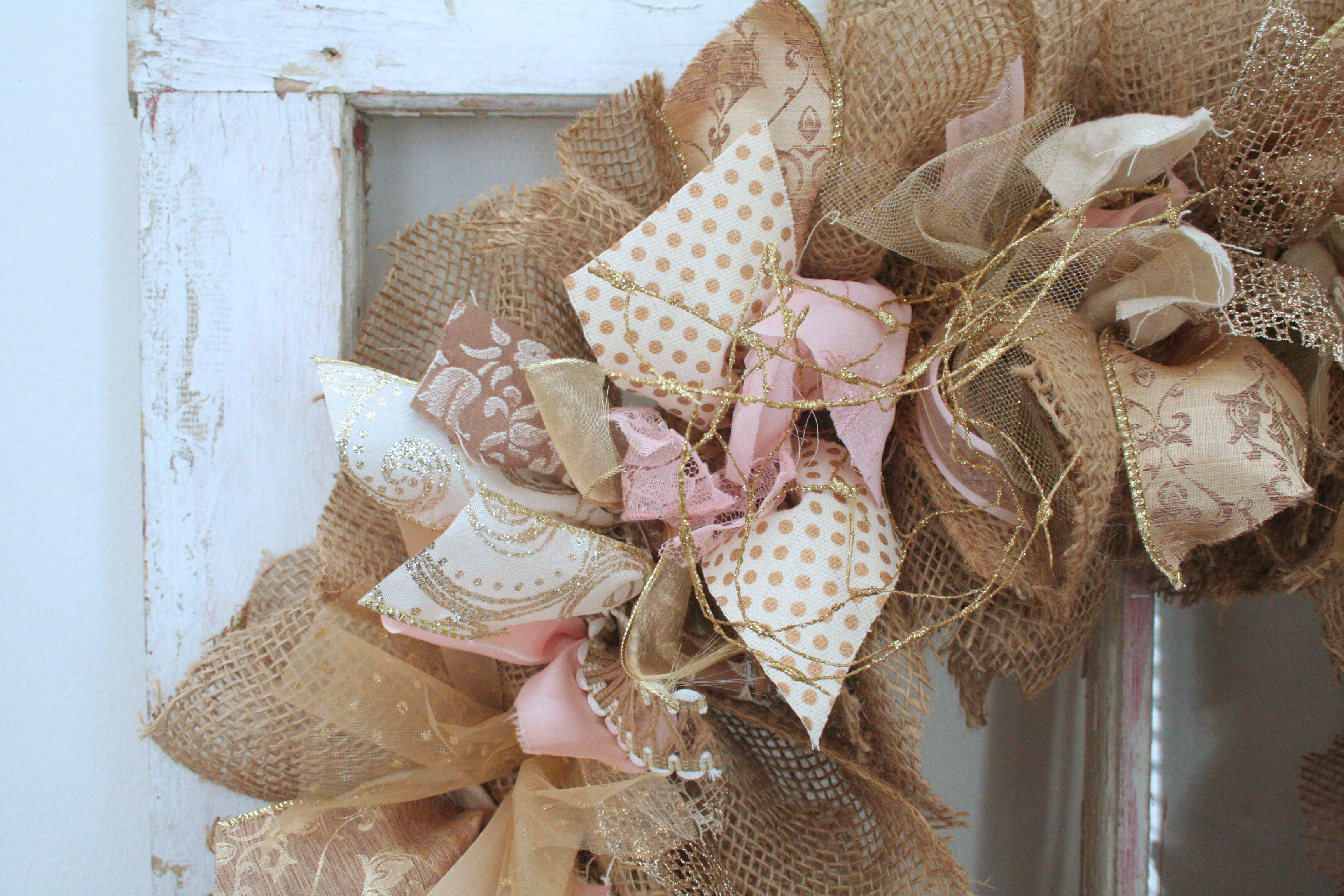 Gold and Glitter Burlap Wreath Sparkle Day Design